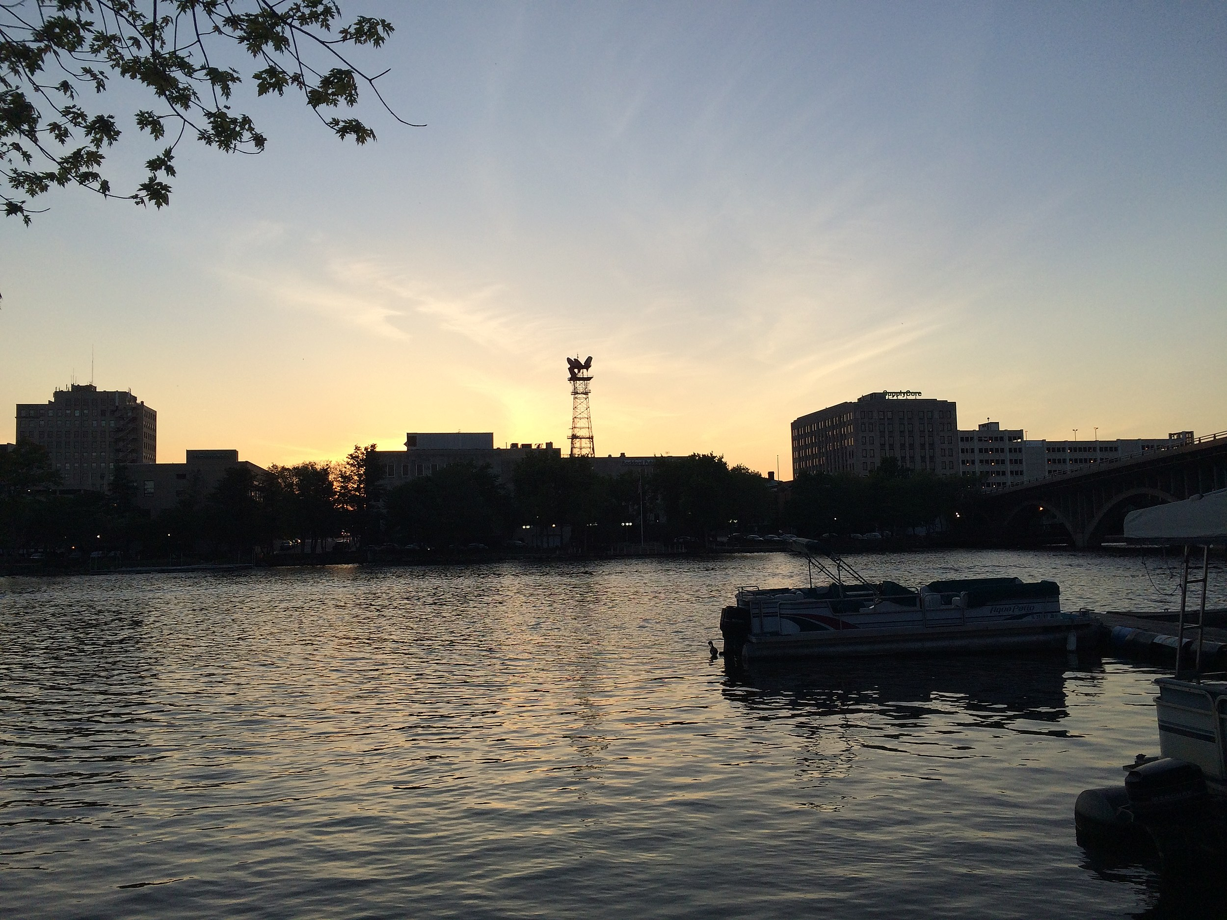 Rockford skyline at sunset