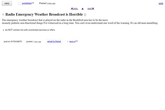 Rockford Radio Craigslist Rant
