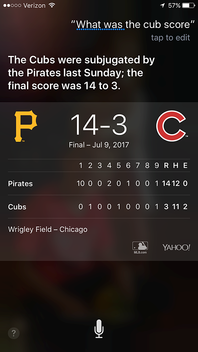 Siri on Chicago Cubs