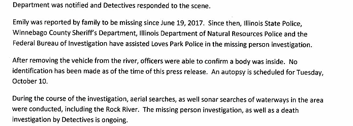 Loves Park Police Release a Report of the Emily Anderson Investigation