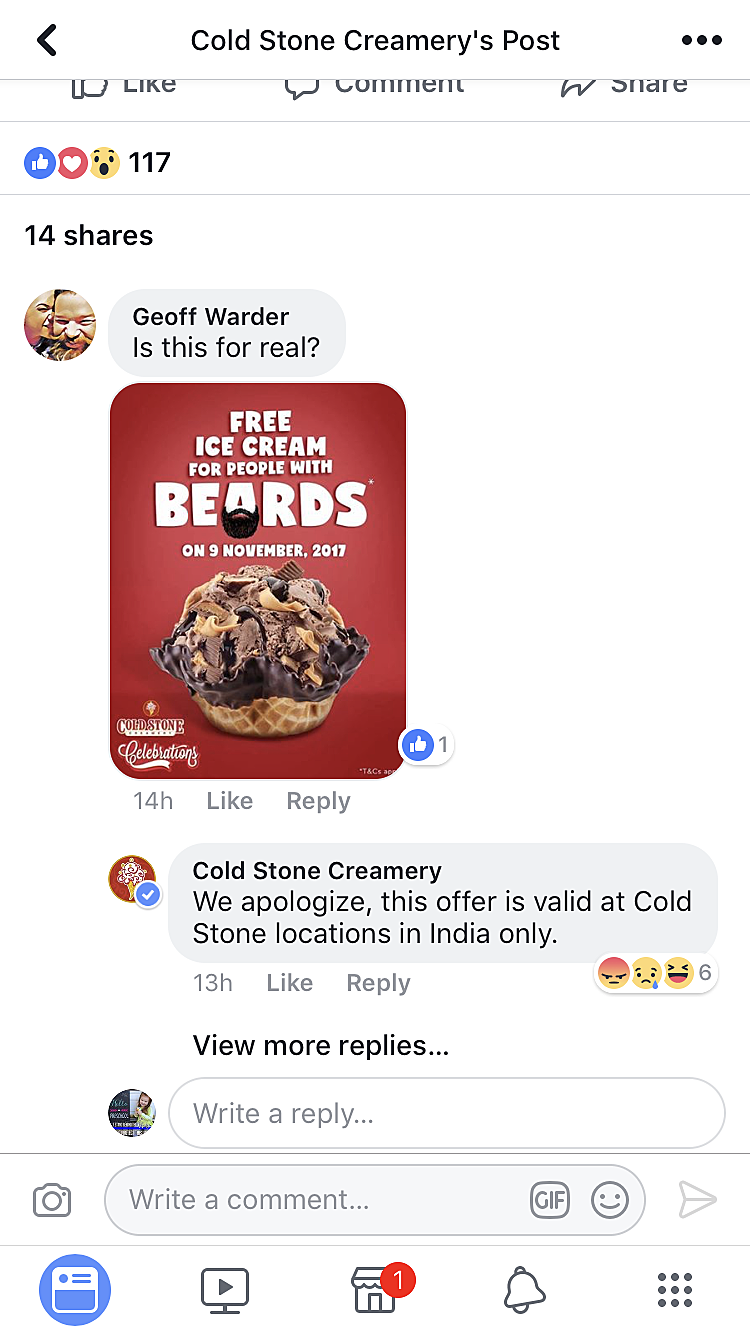 Cold Stone Creamery on Facebook